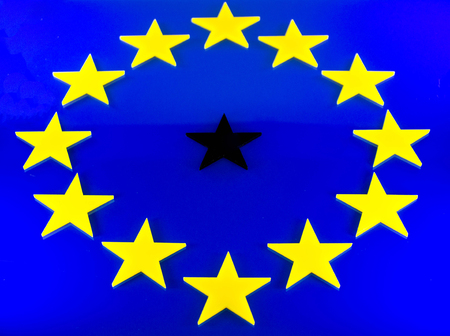 The EU flag with one black star, representing Brexit or a bad country.