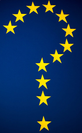 Many questions surround Brexit, here is a question mark made out of the yellow EU flag stars.