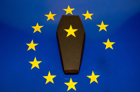 A black coffin on the EU flag to represent the death of the United Kingdom within the EU.