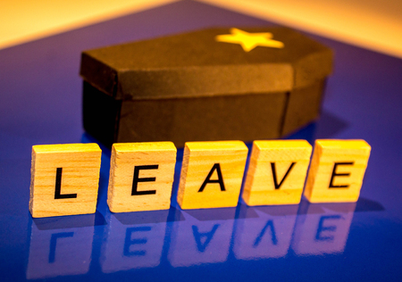 A black coffin with a yellow star on it.  The word Leave infont of the coffin to give the impression that leaving the EU is the Bexit Death.