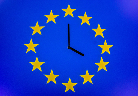 An EU clock representing the countdown until Brexit.