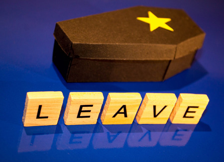 A black coffin with a yellow star on it.  The word 'Leave' infont of the coffin to give the impression that leaving the EU is the Bexit Death.