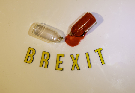 The Brexit deadline upon us now the time is up ! Here an egg timer broken in half to show time has run out.