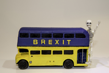 One of the famous parts of the Brexit vote was the bus that showed the £350 million on the side of it. Here is a spin off of that Brexit bus. Reklamní fotografie