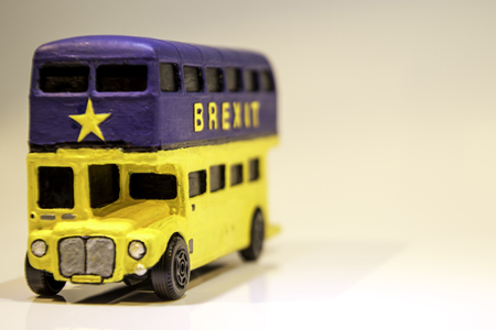 One of the famous parts of the Brexit vote was the bus that showed the £350 million on the side of it. Here is a spin off of that Brexit bus. Stockfoto