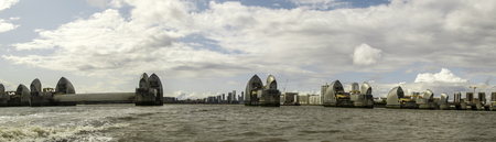 August 19, 2019 – River Thames, London, United Kingdom. The Thames Barrier is the protection for the whole of London in the event of flooding  high tide.