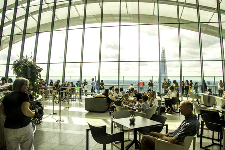 August 20, 2019 – London, United Kingdom. The Sky Garden has a spectacular view all around London. It is situated inside the Walkie Talkie building. Editorial