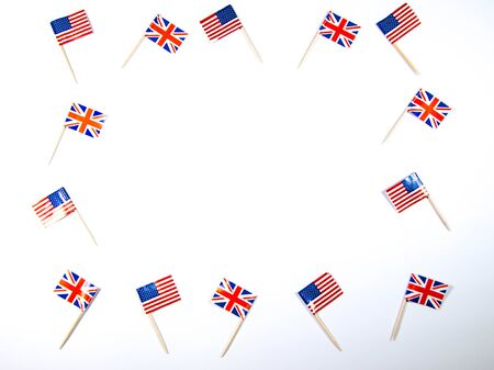 American and British flags together to symbolize the alliance friendship between the two counties.