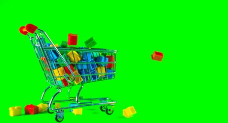 A supermarket trolley full of plastic houses. Taken against a solid green screen color.