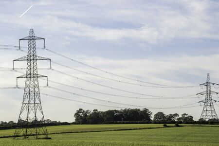 A long stretch of pylons take vital electricity to towns and cities across the United Kingdom.