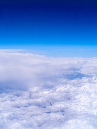 A view from the window seat of an aircraft, up in the stratosphere.
