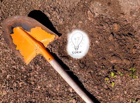A sign of an idea that has been unearthed in the soil. Standard-Bild