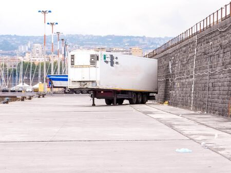 A large HGV trailer used for carrying all types of cargo and goods from one destination to the next. Stock Photo