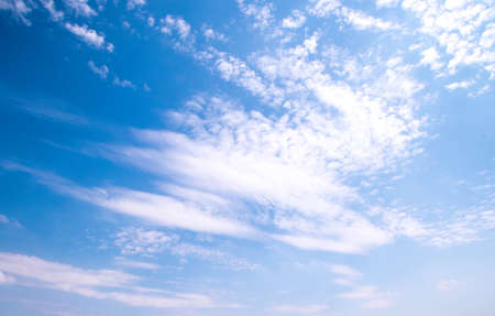 A full frame of summer clouds, fluffy, big and small against a blue sky. Banco de Imagens