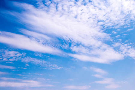 A full frame of summer clouds, fluffy, big and small against a blue sky. 版權商用圖片