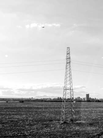 Pylons stretch across the lands of Sicily, Italy, here is just one look at the power source that has been installed to take electric from one location to the next.