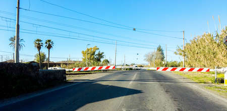A level crossing with the barriers down as vehicles await them to go back up after a train passes by.