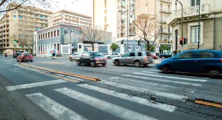 A typical road crossing for pedestrians in the center of Catania City, in Sicily, Italy.