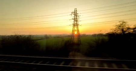 A passenger view from a high speed train that runs up and down the United Kingdom.