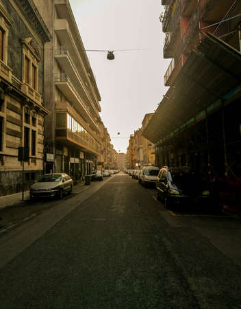 A view from within the large and popular city of Catania, Sicily. The old buildings add character to the city for tourism. Stock Photo