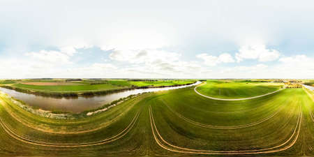 An aerial view of the spectacular landscapes of the Lincolnshire countryside, in the United Kingdom. Taken from a drone. Stock Photo