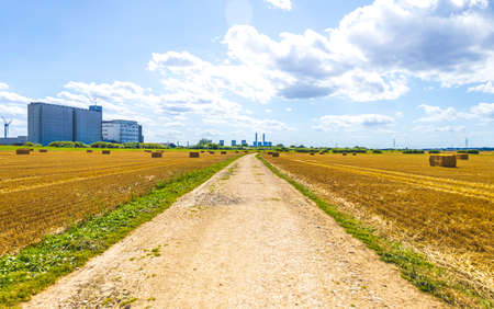 A view of beauty of the British countryside during a sunny day. The grass and fields so colorful for all to enjoy. Standard-Bild