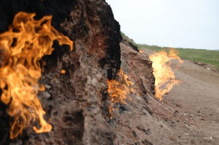 azerbaijan: Nature burning ground in Yanardag, Azerbaijan