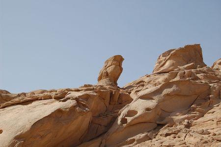 sinai desert: Aerated falcon sculpture in Sinai desert Stock Photo