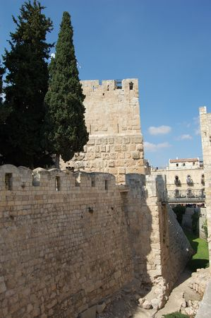 Tower of Jerusalem old city wall photo