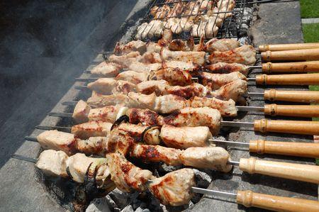 Kebab prepared on open fire photo