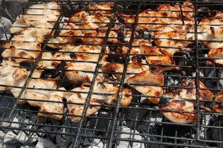 Barbecue prepared on open fire photo