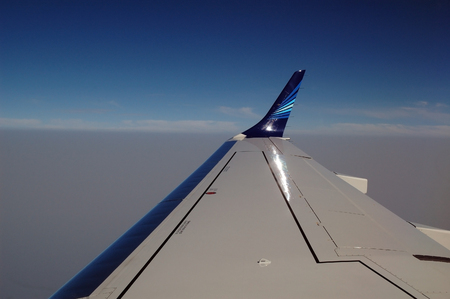 aileron: View on aircraft wing during flight Editorial