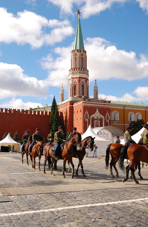 cossack parade: Horse guard training on Red Square in Moscow