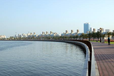 sharjah: Early morning at Sharjah corniche, UAE Stock Photo