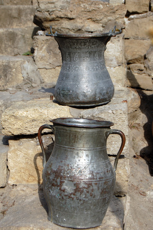 azeri: Two ancient metal Pots in national Azeri style