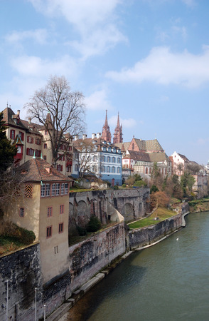 helvetia: Basel old city view from the Rhine