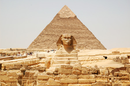 egyptian pyramids: Spynx face on the Giza pyramid background, Cairo, Egypt