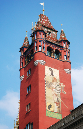 rathaus: Tower of the Basel Rathaus, Basel, Switzerland