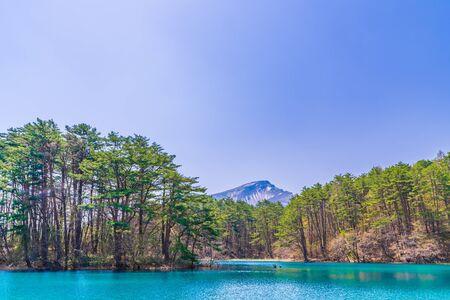 Fukushima Prefecture Urabandai, Bishamonnuma and Mt. bandai at Goshikinuma