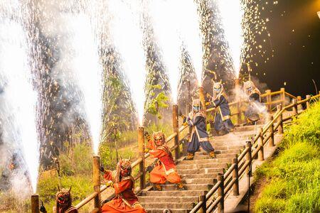 Summer scenery in Hokkaido, Oni Fireworks at Noboribetsu Jigokudani