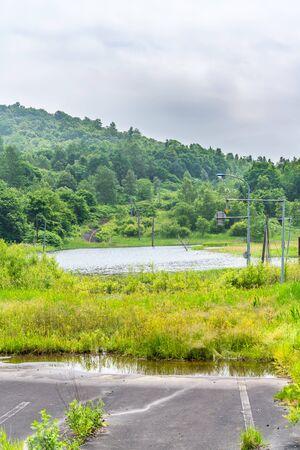 Nishiyama Crater Walking Trail in Toyako onsen Stok Fotoğraf