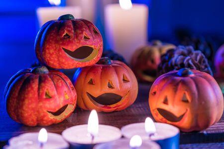 Jack O'O'Lantern over Halloween and Candles