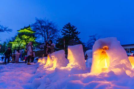 Winter akita yokote kamakura in Japan Stok Fotoğraf