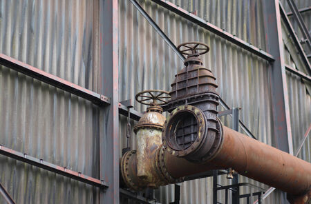 flanges: The flanges and old metal constructions in industrial zone