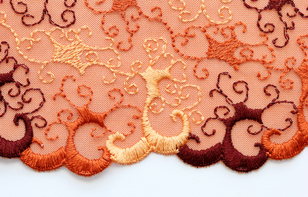 materia: The macro shot of the red and orange lace texture materia Stock Photo