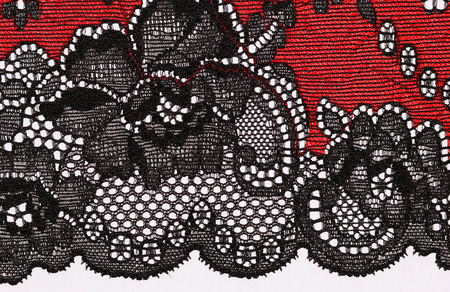 materia: The macro shot of the red and black lace texture materia Stock Photo