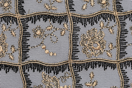 materia: The macro shot of the gold and black lace texture materia Stock Photo