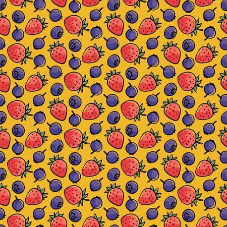 Seamless pattern with hand-drawn berries