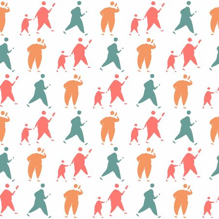Seamless pattern with silhouettes of people in a doodle style Illustration