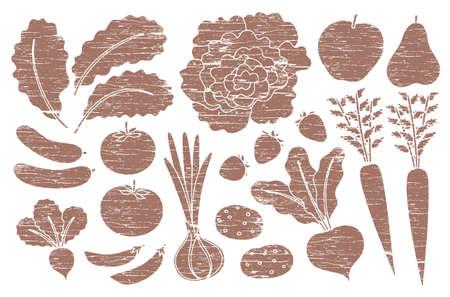 Grunge farm produce set with wood texture